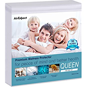 "AirExpect Waterproof Mattress Protector Queen Size 100% Cotton Hypoallergenic Breathable Mattress Pad Cover, 18"" Deep Pocket, No Vinyl - 60"" x 80"""