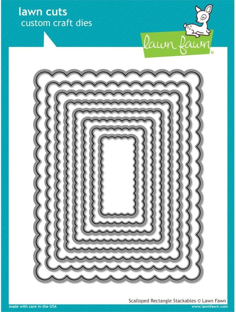 67% OFF of fixed price Lawn Fawn Cuts Custom Craft - Die 2021 model Stack Rectangle Scalloped