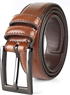 Men Genuine Leather Belt with Single Prong Buckle, Fashion & Classic Design for Dress and Causal,Gift box