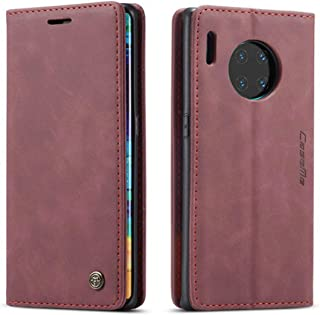 For Huawei Mate 30 Pro Burgundy Leather Magnetic Flip Wallet Case Cover
