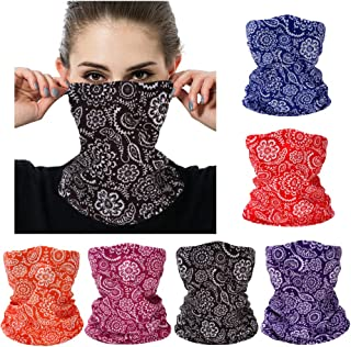 Seamless Bandanas Face Mask Outdoor Neck Gaiter Balaclava Paisley Magic Headband Scarf for Dust High Elastic Multi Sport Headwear with UV Resistance for Yoga Hiking Fishing Pack of 6