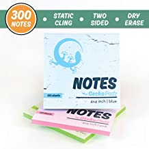 GeckoPadz Static Cling Sticky Notes | Stick to Any Surface with No Adhesive | Reusable White Dry Erase Side | Great for Classroom Supplies, to Do List, Office and Students | 3 Pack, 300 pcs, 4x4 in