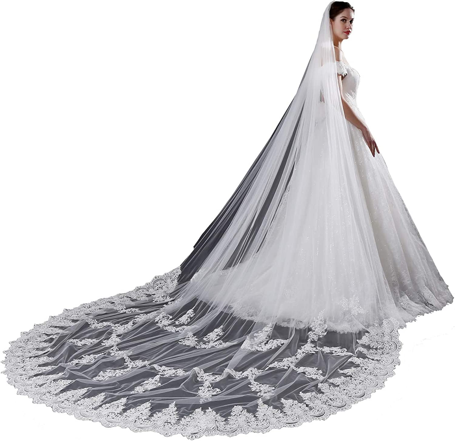 Fenghauvip Cathedral Wedding Veil Lace Floral 1 Tier Veils for Brides Appliques with Comb