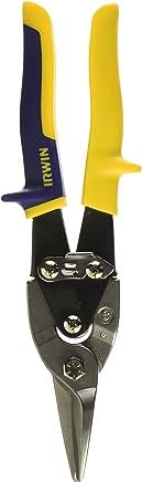 Irwin 2073113, Tesoura para Corte de Chapas Tipo Aviação Corte Reto e Curvas Amplas, Azul/Amarelo/Preto e Prata