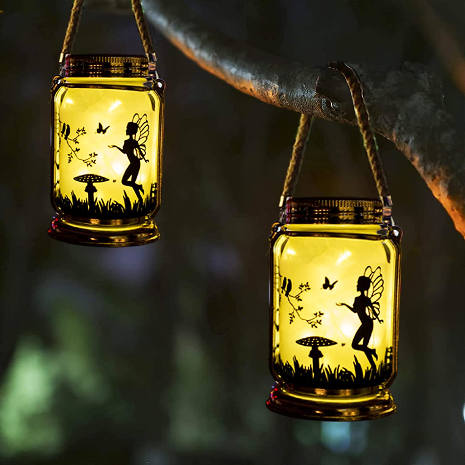 Vcdsoy Solar Fairy Lantern Patio Outdoor Decorations- 2 Pack Solar Outdoor Lanterns Fairies Gifts Hanging Lamp Frosted Glass Jar with Stake for Yard Garden Clearance Patio Lawn