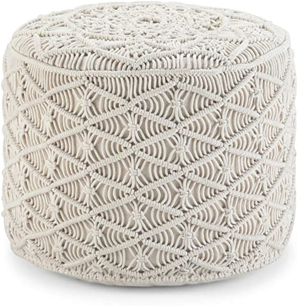 Simpli Home AXCPF 56 Coates Contemporary Round Macrame Pouf In Natural Cotton Fully Assembled