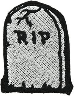RIP Tombstone Small Iron On Embroidered Patch