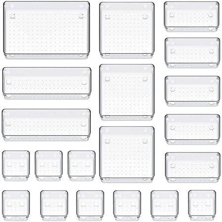 Organiseur de tiroir - Boîtes de rangement - Tiroirs - Système de rangement - Organisateur de maquillage pour cuisine, bureau, coiffeuse, ustensiles de cuisine, salle de bain (transparent, lot de 20)