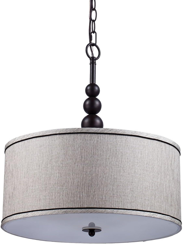YOBO Lighting Vintage Modern Glass 3-Light Kitchen Chandeliers, Oil Rubbed Bronze Drum Shade Hanging Pendant Light