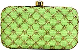 Handicartz Embroidered Turquoise Green Party Women's Clutch Bag