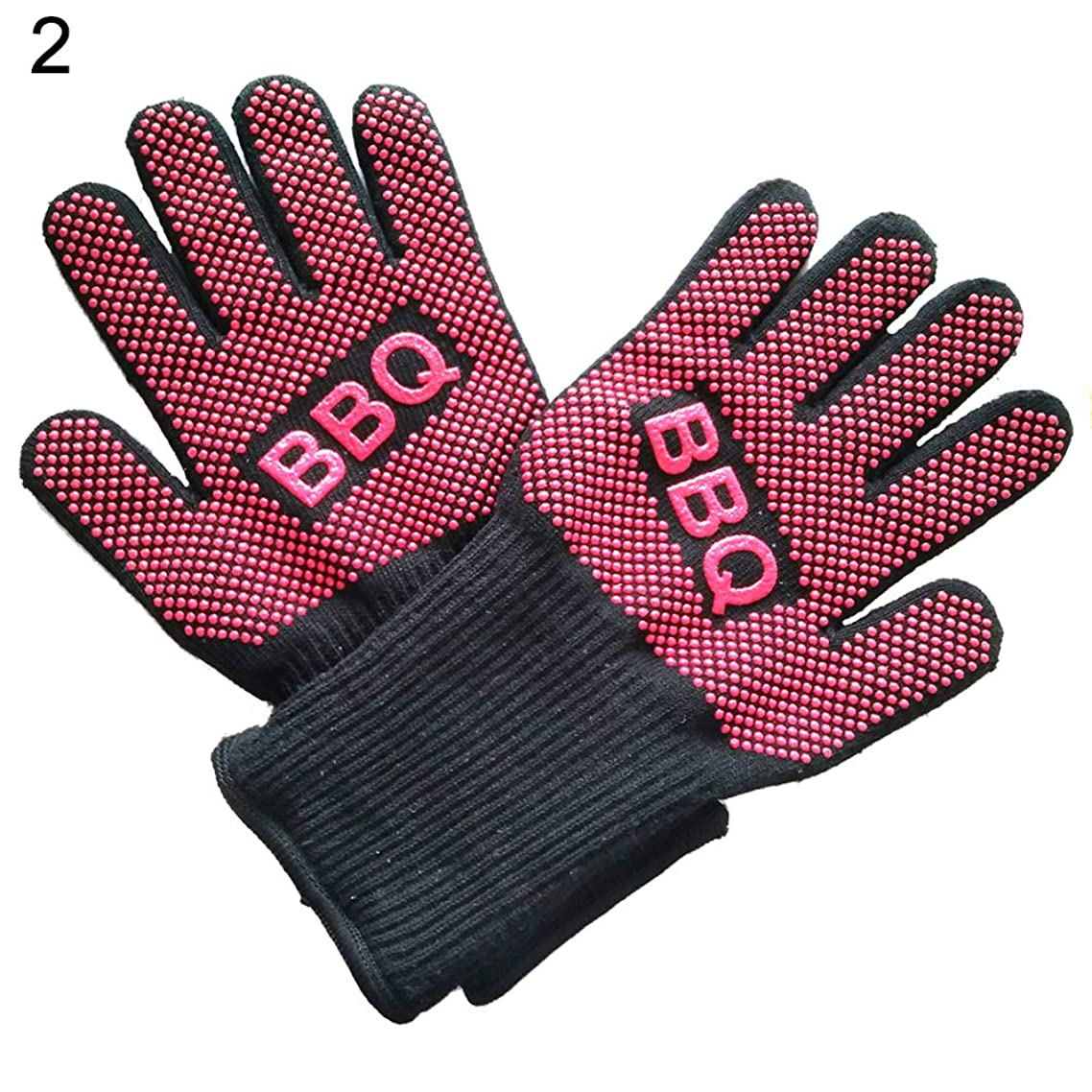 2Pcs Heat Resistant Gloves High Temperature Resistant Forearm Protection Use As Oven Mitts, Pot Holders, Heat Resistant Gloves for Grilling 2