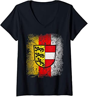Womens Carinthia T-Shirt with Coat of Arms and Flag Retro Kaernten V-Neck T-Shirt