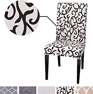 Argstar 2 Pack Chair Slipcovers for Dining Room Spandex Protector Covers for Kitchen Black White Pattern X_14