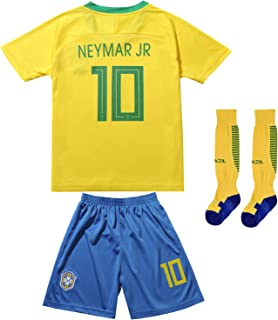 FCB BRAZIL NEYMAR JR #10 Home Football Soccer Kids Jersey Short Socks Set Youth Sizes