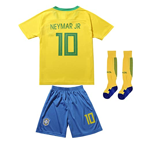 90ddefc3b FCB BRAZIL NEYMAR JR #10 Home Football Soccer Kids Jersey Short Socks Set  Youth Sizes