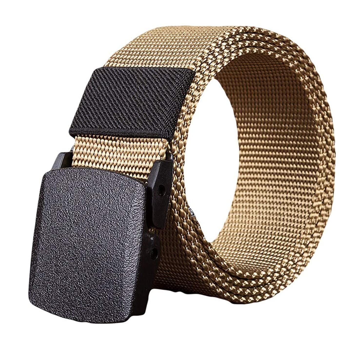 Yomiafy Men Women Simple Canvas Belts Military Style Waist Strap with Plastic Buckle