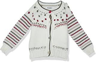 Giggles Patterned Front Buttons Long Sleeves Tricot Jacket for Girls