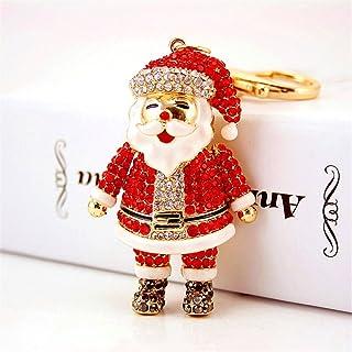 Santa Claus Fashion Crystal Rhinestone Pendant Charm Purse Bag Key Chain Christmas Gift #1