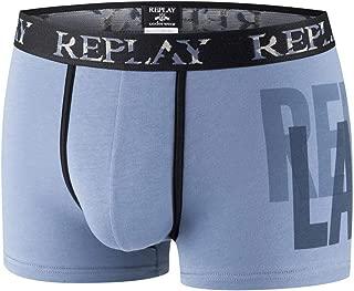 Noir//Bleu Replay Troncs De 2-Pack Bold Logo Plac/é Hommes De Boxer