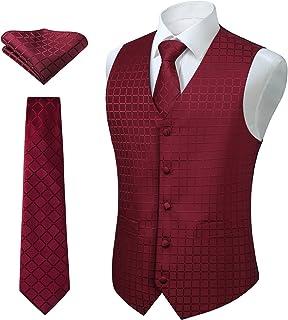 Enlision Classic Check Jacquard Men's Waistcoat Necktie Pocket Square Solid Color Vest Suit Set