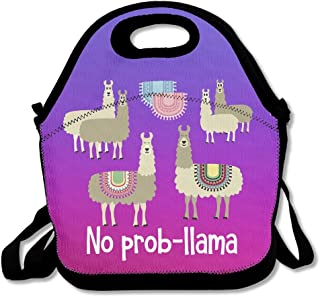Tribal No Prob-llama Purple Lunch Bags Insulated Travel Picnic Lunchbox Tote Handbag With Shoulder Strap For Women Teens Girls Kids Adults