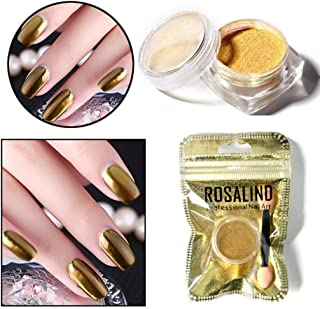 Nail Art Powder,Nail Decals And Decorations ROSALIND Women Mirror Powder Effect Chrome Nails Pigment Gel Polish DIY (Gold)