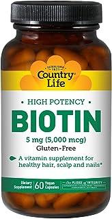 Country Life Biotin 5 mg Super Potency Capsules, 60 Capsules