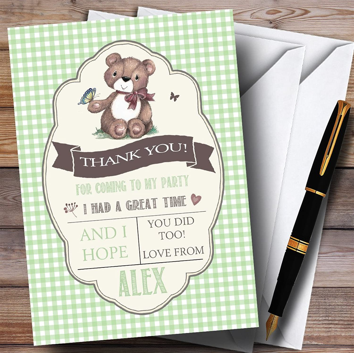 Green Boys Teddy Bear Picnic Party Thank You Cards