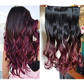 """DevaLook 20"""" Thick One Piedce Half Head Wavy Curly Clip in Hair Extensions Ombre 2 Tones Wavy Curly DL (Natural black to plum red)"""