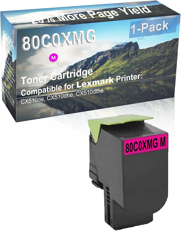 1-Pack (Magenta) Compatible CX510de, CX510dhe, CX510dthe Printer Toner Cartridge High Capacity Replacement for Lexmark 80C0XMG Toner Cartridge