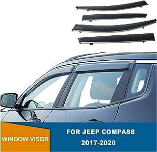 Generico Set DEFLETTORI Antivento Auto Compatibile con Jeep Compass 5P 2017  PARAVENTO Anti Vento Acqua Turbo Fume G3