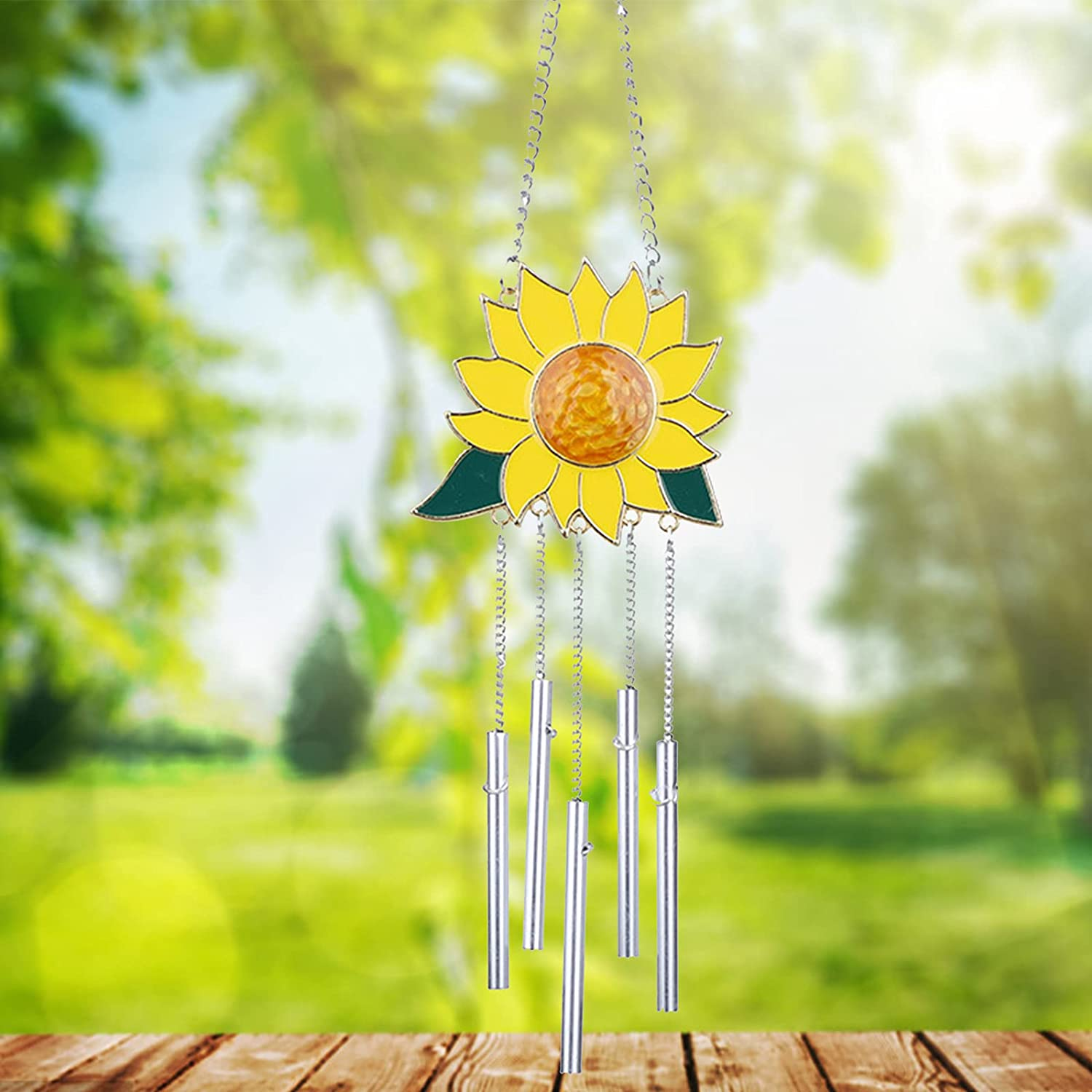 ELEWELT Sunflower Wind Chimes for OFFicial site Spring new work one after another Metal Wall Outside