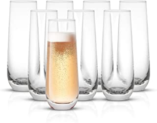 JoyJolt Milo Stemless Champagne Flutes Set of 8 Crystal Glasses. 9.4oz Champagne Glasses. Prosecco Wine Flute, Mimosa Glas...