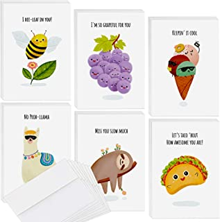 24 Funny Note Cards Set - Punny Puns Thinking of You Notecards Pack for Friends, Kids, Students, and More - Say Hello, Tha...