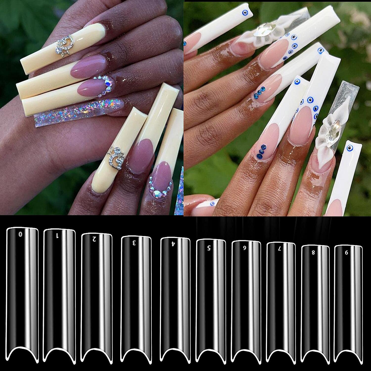 Rosy lowest price Outstanding Finch Clear Fake Nail Tips 500 Long Pcs C Extra Curve XXL