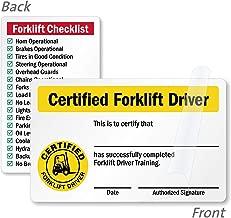 SmartSignCertified Forklift Driver/Forklift Checklist 2- Sided Forklift Certification Wallet Card   2.125