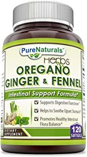 Pure Naturals Oil of Oregano, Ginger Oil & Fennel Oil, 120 Softgels – Supports Digestive Functions* Heps to Soothe Upset Stomach* Promotes Healthy Intestinal Flora Balance*