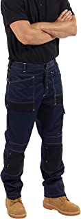 SITE KING Mens Contrast Cargo Combat Work Trousers Heavy Duty with Holster Pockets