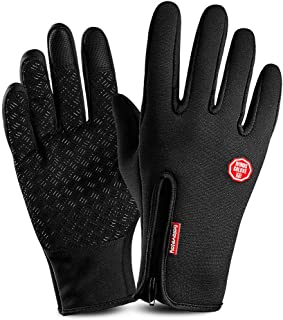 Touch Screen Gloves,Outdoor Work Gloves Winter Cycling Running Leather Gloves Waterproof Non-Slip Warm Gloves for Men Women