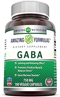 Amazing Formulas Pharma GABA - 750 Mg, Veggie Capsules (Non GMO,Gluten Free) - Calming & Relaxing Effect - Promotes Positive Mood & Releases Stress - Eases Nervous Tension* (100 Count)
