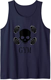 Gym skull and weights Badass workout Tank Top