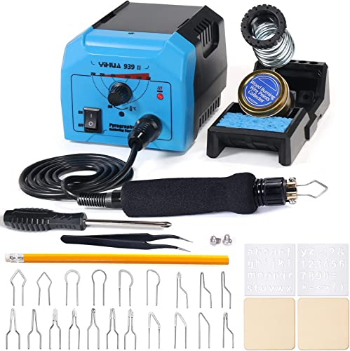 discount YIHUA 939-II Pyrography Pen Wood Burning Kit Station 250~750℃/482~1382℉ Temperature Adjustable with 20 lowest Wire Nibs, 1 Stable Pen Holder, 2 Stencils, 2 Scrap Wood, 1 S/S Tweezers, and discount 1 Pliers (Blue) online sale