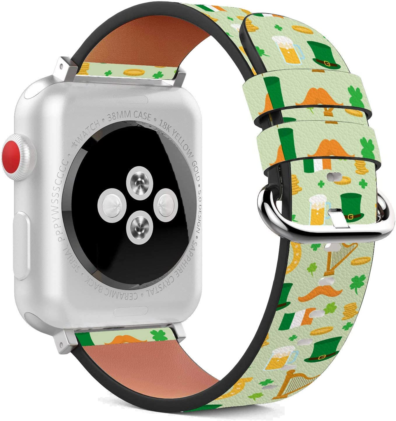 Compatible with Apple Watch - 42mm / 44mm (Serie 6/5/4/3/2/1) Leather Wristband Bracelet with Stainless Steel Clasp and Adapters - Great St Patrick's Day
