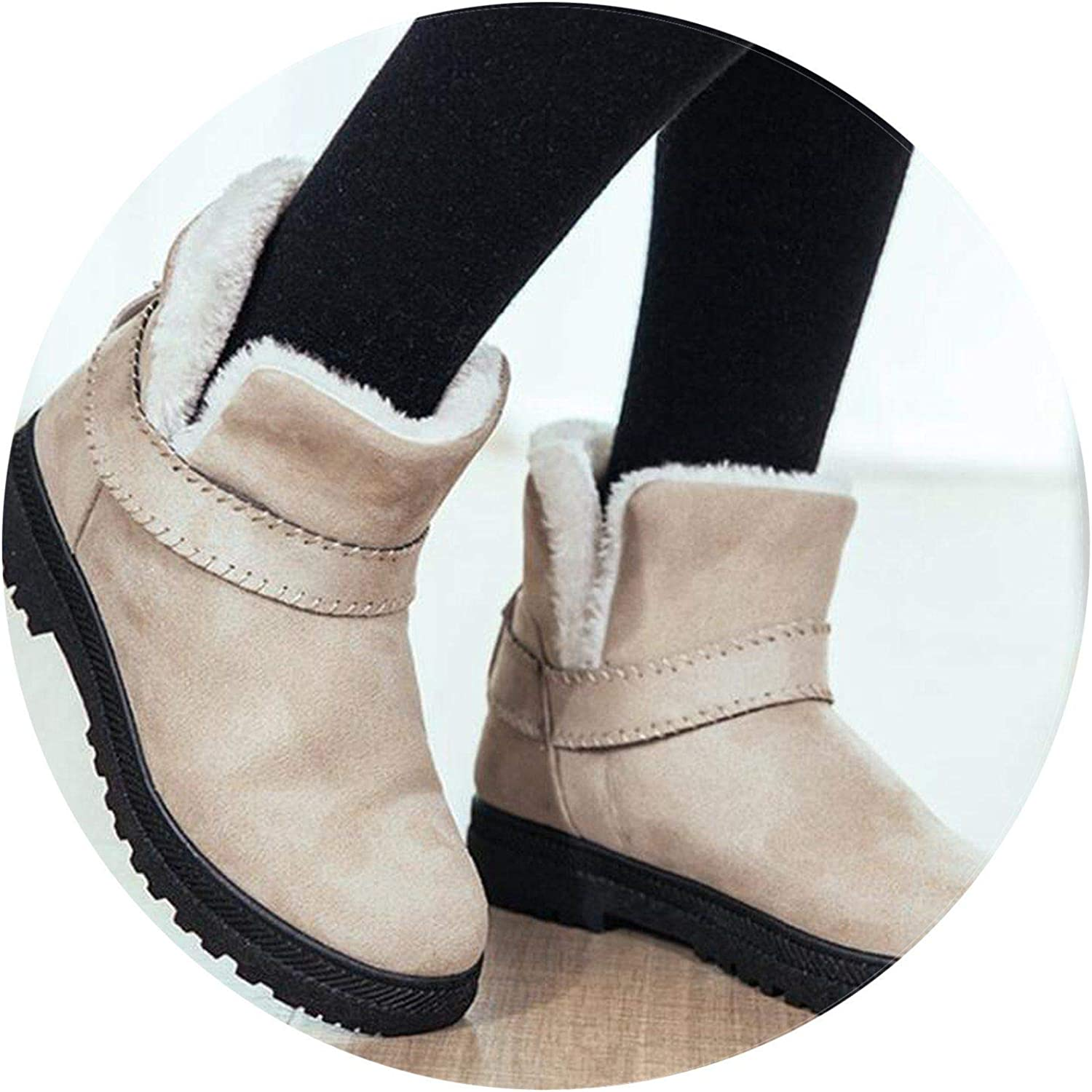 Summer-lavender Big Warm Snow Boots Winter Boots Women Ankle Boots Warm Cotton Boots Plush Insole