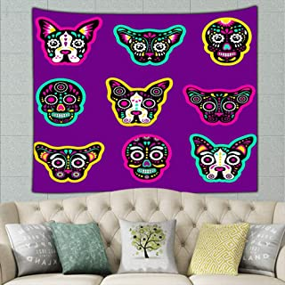 wrtgerht Fashion Patch Badges Sugar Skull Dog Abstract Tapestry Wall Hanging, Wall Tapestry with Art Nature Home Decorations for Living Room Bedroom Dorm Decor 50ʺ × 60ʺ