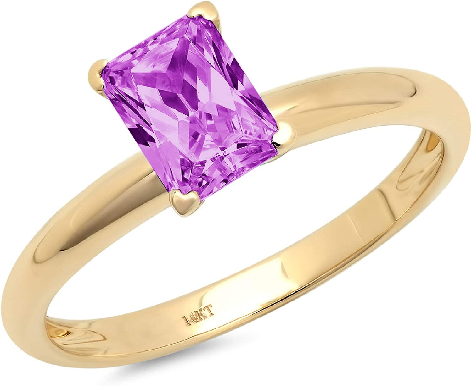 0.95 ct Brilliant Emerald Cut Solitaire Flawless Simulated CZ Purple Alexandrite Ideal VVS1 4-Prong Engagement Wedding Bridal Promise Anniversary Designer Ring Solid 14k Yellow Gold for Women