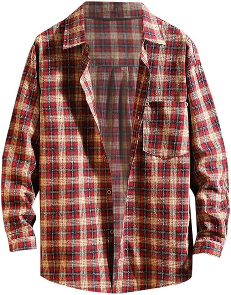 Men's Long Sleeve Button Down Collar Shirt, Casual Plaid Loose Fit Dress Shirt Top