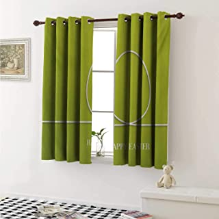 shenglv Easter Waterproof Window Curtain Minimalist Egg Design on a Green Toned Backdrop Coming of The Spring Theme Curtains for Party Decoration W84 x L72 Inch Yellow Green White