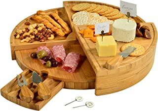 Picnic at Ascot Patented Bamboo Cutting Board for Cheese & Charcuterie with Knives & Cheese Markers- Stores as a Compact W...