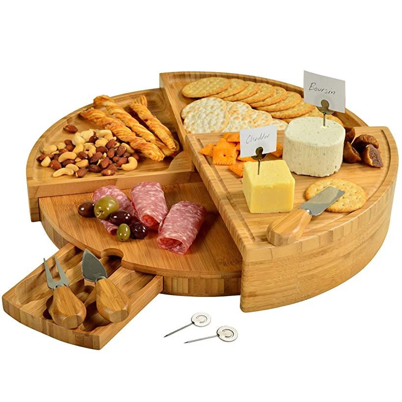 Picnic at Ascot Patented Bamboo Cheese/Charcuterie Board with Cheese Knife Set & Cheese Markers- Stores as a Compact Wedge- Opens to 18